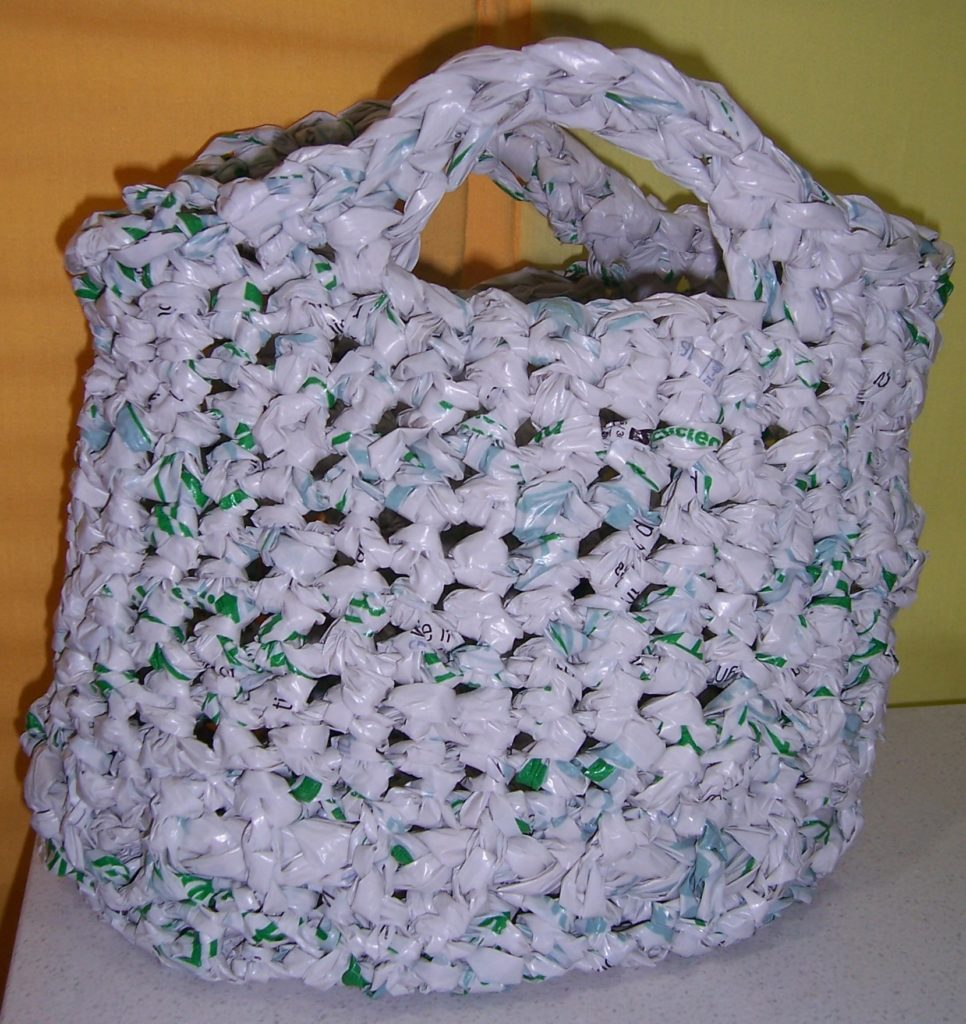 Image crocheted plarn carry bag.