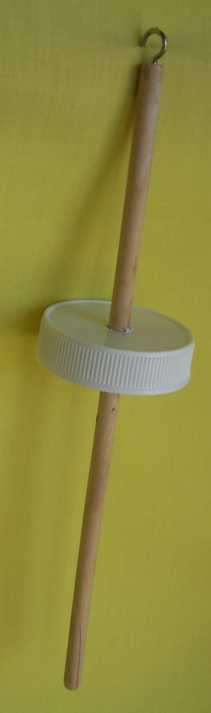 image of drop spindle made from everyday stuff