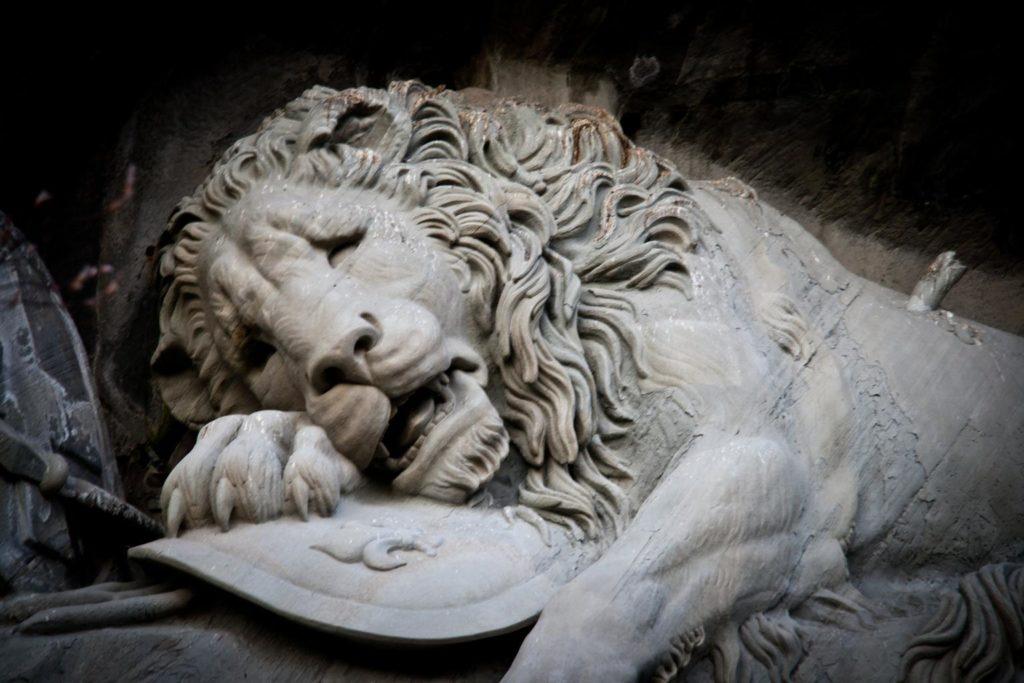Image sadness of lions, Lucerne Switzerland